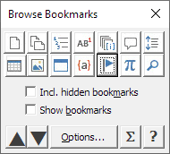 The Object Browser dialog box with Bookmark icon selected