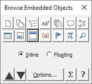 The Object Browser dialog box with Embedded Object icon selected