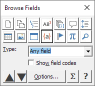 The Object Browser dialog box with Field icon selected