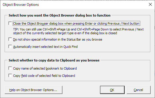 The Object Browser Options dialog box