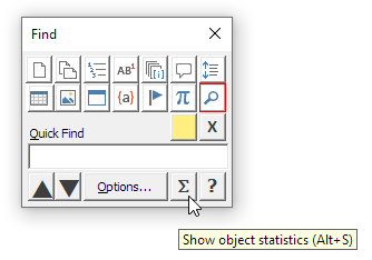 Click the Σ button in the Object Browser dialog box to view object statistics