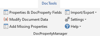 Productivity Tools for Microsoft Word - The DocPropertyManager tools in the DocTools tab in the Ribbon