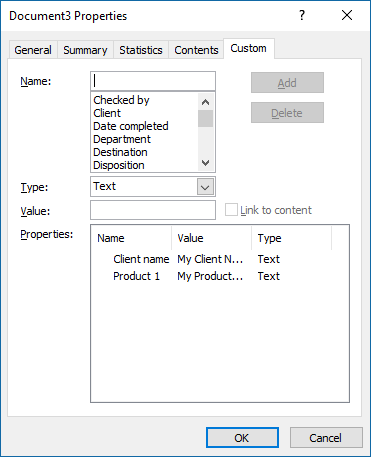The Custom tab of the Properties dialog box