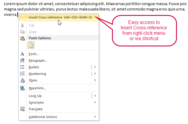 Easy access to Insert Cross-reference from right-click menu