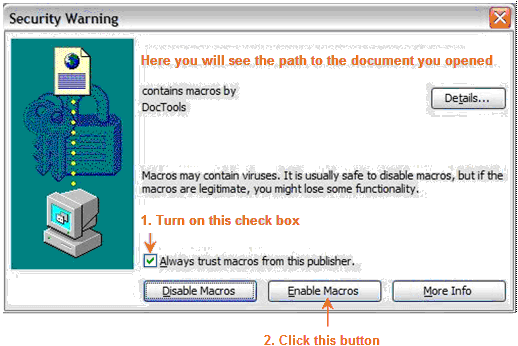 Security settings - example from Word 2003
