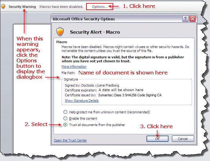 Security settings - example from Word 2007