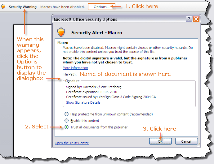 Security settings - example from Word 2007.