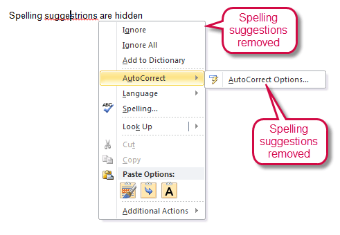 Spelling suggestions removed from right-click menu