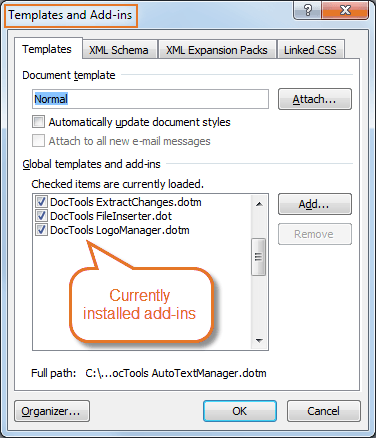 Templates and Add-Ins dialog box