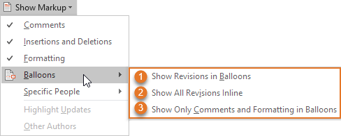 The options marked no. 1, 2, and 3 in the Show Markup > Balloons menu are the same as the options marked no. 1, 2, and 3 in the Track Changes Options dialog box in Figure 25 below