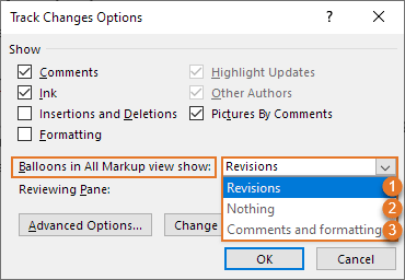 The options marked no. 1, 2, and 3 in the Balloons in All Markup view show list in the Track Changes Options dialog box are the same as the options marked no. 1, 2, and 3 in the Show Markup > Balloons menu in Figure 24 above