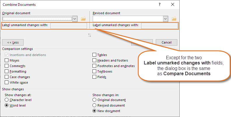 The Combine Documents dialog box. It is almost identical to the Compare Documents dialog box.