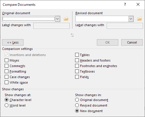 The Compare Documents dialog box with all options shown