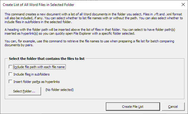 The Create List of All Word Files in Selected Folder dialog box