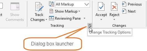 On the Review tab, click the dialog box launcher in the Tracking group to open the Track Changes Options dialog box