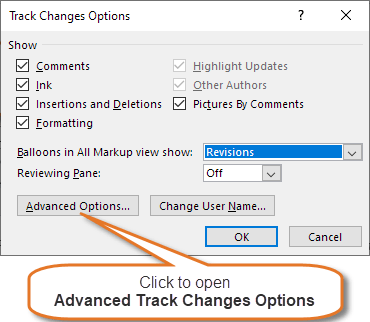 The Track Changes Options dialog box that opens when you click the dialog box launcher in the Tracking group on the Review tab