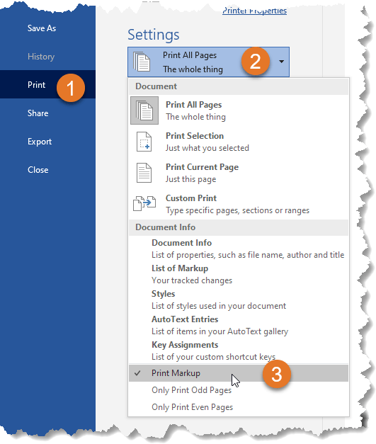 Select Print Markup to have the document printed with tracked changes