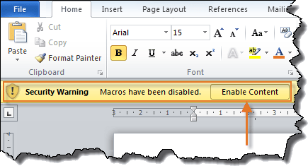 Figure 1. Warning about disabled macros.
