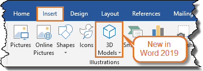 Word version – Word 2019 – 3D Models is new in Word 2019