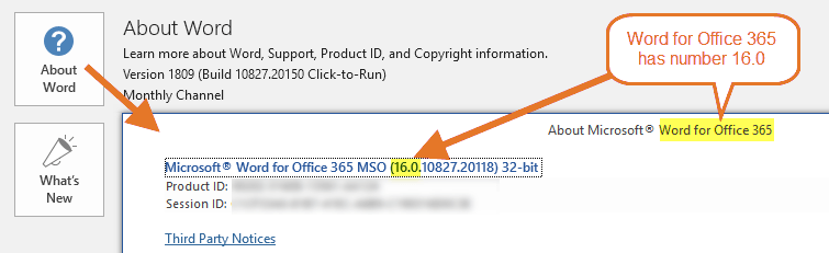 Word for Office 365 has number 16.0