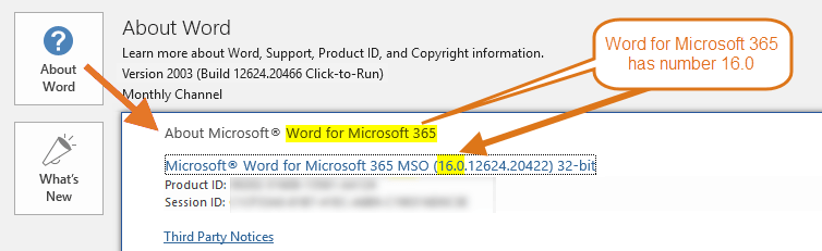 Word version – Word for Microsoft 365 has number 16.0