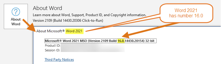 Word 2021 has number 16.0