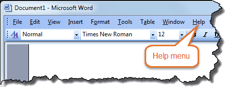 Word version – Word 2003 – Menu bar with Help menu