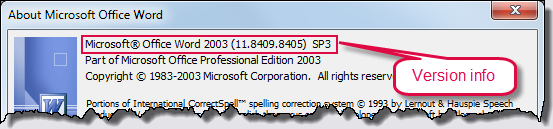Word 2003 version details