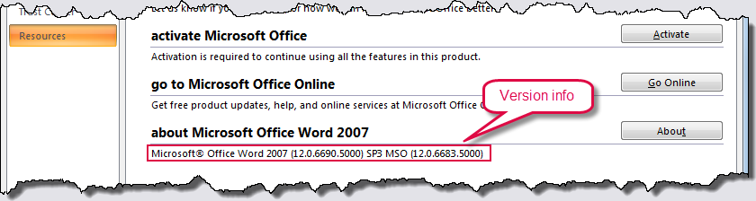 How to find out what version of Word you have