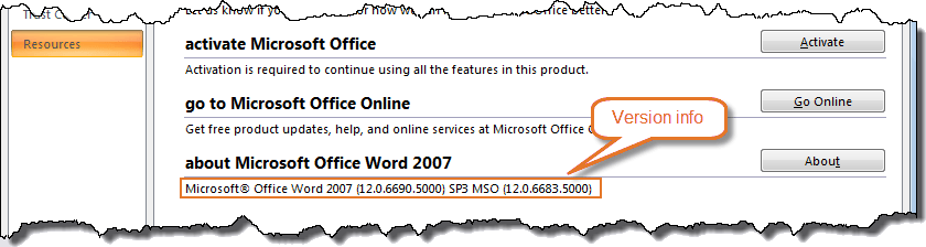 Word 2007 version details