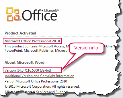 Word 2010 version details