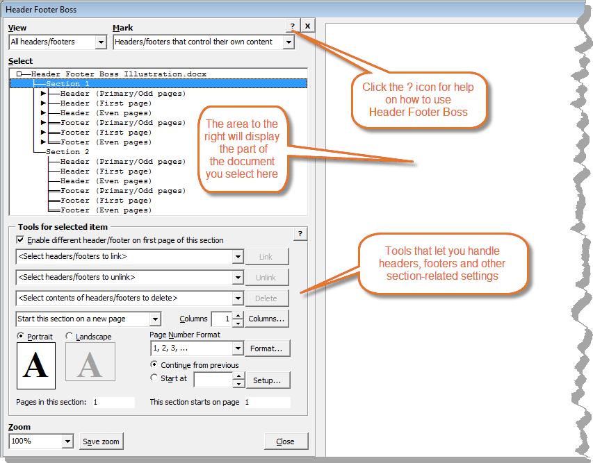 The Header Footer Boos dialog box from where you can manage headers and footers